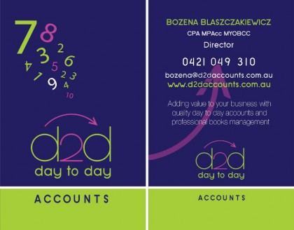 Day 2Day Accounts Single Business Card